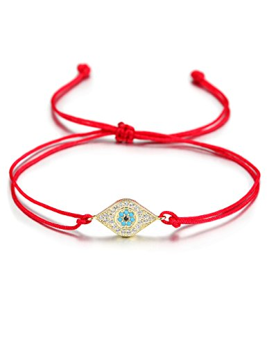 WISTIC Dame Armreifen Edelstahl Gold überzog Bling Bling Armband mit Kristall (Rose Gold) … (red evil eye bracelet)