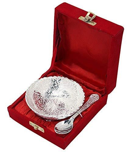Rastogi Handicrafts Silver Plated Small Bowl Set with Spoon Size - 3.5 Inch Diameter Bowl, Capacity -100 ml /3.38 OZ
