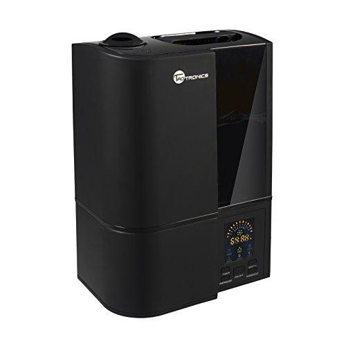 TaoTronics TT-AH001 Cool Mist Ultrasonic Humidifiers for Home Bedroom, Quiet Operation, LED Display, Waterless Auto Shut-Off, Black, (4L/1.06 Gallon, US 110V)