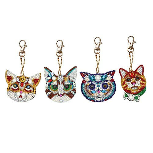 Seawang 4pcs Rhinestone Keychain Cat Keyring DIY Diamond Painting Keychain Special-Shaped Full Drill