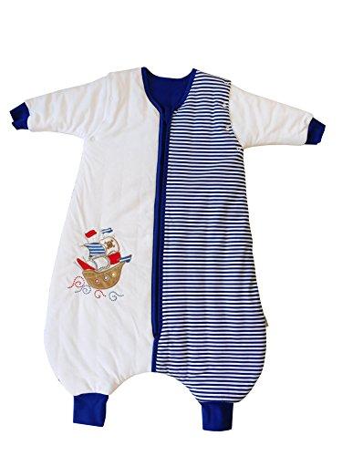 *Schlummersack Schlafsack mit Beinen Vierjahreszeiten in 2.5 Tog mit abnehmbaren Ärmeln – Pirat – 110 cm*