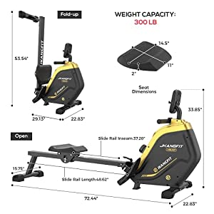JKANGFIT Folding Rowing Machine - Rowing Machines for Home Use Indoor Magnetic Rower Machine for Full Body with 16 Levels Resistance LCD Monitor Device Holder (Home)