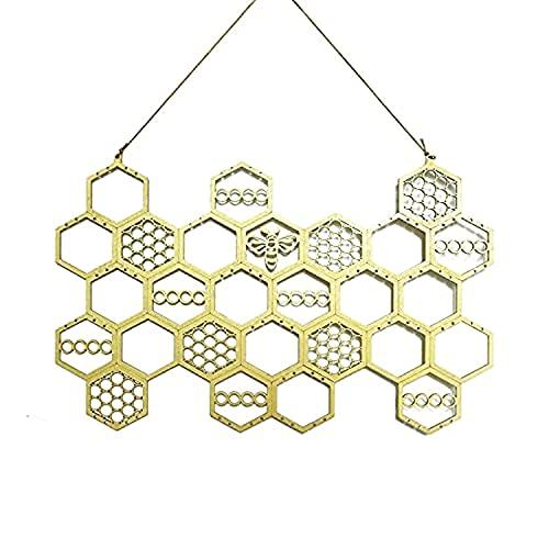 Organizador de Pendientes de Panal, exhibición de Pendientes de Montaje en Pared Organizador de joyería Colgante de Madera para Pendientes de botón, Collares (Gold-A)