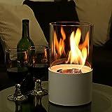 DJLOOKK Chimeneas de Mesa portátiles, Chimenea Redonda de Alcohol, Chimenea de etanol de biomasa de decoración de Paisaje de Fuego Real para Exteriores/Interiores