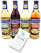 Mizkan Holland House Cooking Wine |13.1 oz Bottle (Pack of 4 Sampler Pack) - 1 Each of Red White Marsala & Sherry| 1x Happy Home Magnetic Notepad