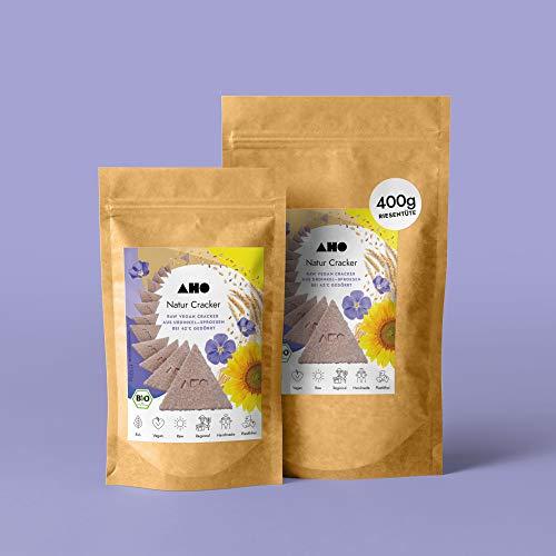 AHO Natur Cracker aus Bio Urdinkel-Sprossen 100g | Rohkostcracker aus gekeimtem Urgetreide aus deutschem Bio-Anbau | Superfood Sprossencracker | 100% Bio, Vegan, Raw | 100g Plastikfrei verpackt