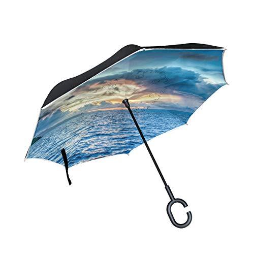 Best Bargain Double Inverted Umbrella Car Inverted Umbrella Reverse Folding Travel Umbrella Super Wa...