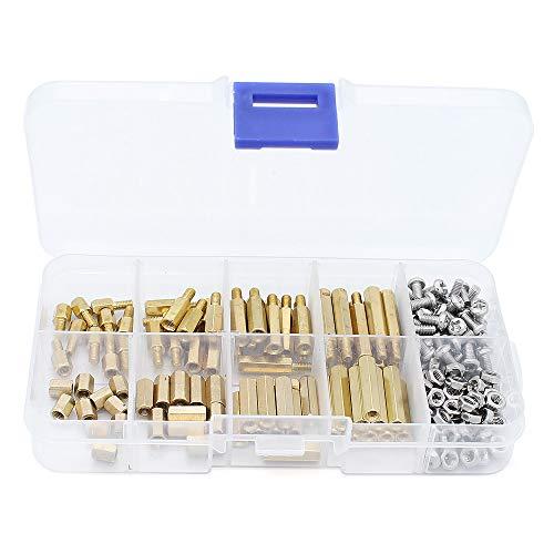 Yuhtech 200 Stück Männlich Weiblich Hex Messing Abstandshalter Distanzhülse Schrauben Muttern Sortiert Kit (M3 Brass Standoffs)
