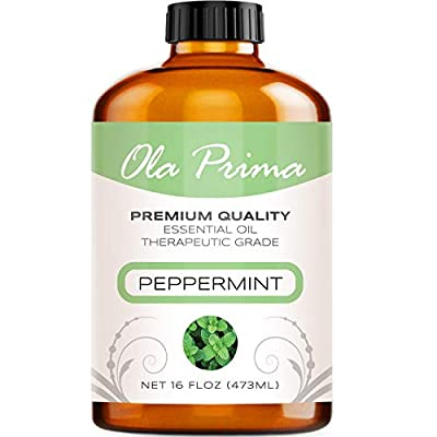 HUGE 16 OUNCE BOTTLE - Our Peppermint Oil Is Bottled in a U/V Resistant Amber Bottle PREMIUM QUALITY THERAPEUTIC GRADE PEPPERMINT Oil (Packaging may slightly vary) - An Absolutely Beautiful Aroma Made from the Highest Quality Peppermint PERFECT FOR Y...