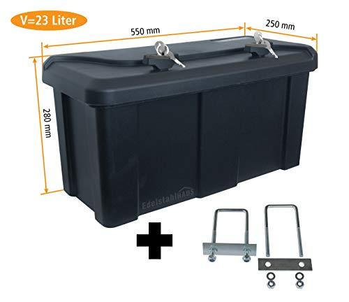 Deichselbox mit 2 Schlösser inkl. Halter, Werkzeugkasten für Anhänger Staukiste 23 ltr Anhängerbox, Daken B23-2+MON4002