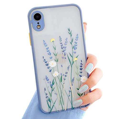 Ownest Kompatibel mit iPhone XR Hülle,Blume Transparent Matte PC Back 3D Floral und Mädchen Frau Weich Silikon Bumper Schutzhülle Case für iPhone XR-Lila