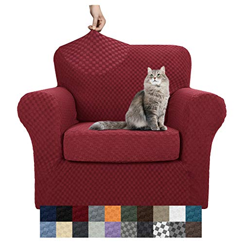 YEMYHOM Latest Checkered 2 Pieces Chair Covers for Living Room High Stretch Thickened Chair Slipcovers with Arms Anti Slip Elastic Armchair Sofa Couch Slipcover Protector (Chair, Wine Red)