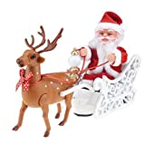 Zonfer Regalos del Coche Eléctrico De Santa Claus Elk Trineo De Navidad del Juguete Eléctrico De Juguete Inicio De Navidad para Los Niños Regalo De Los Niños