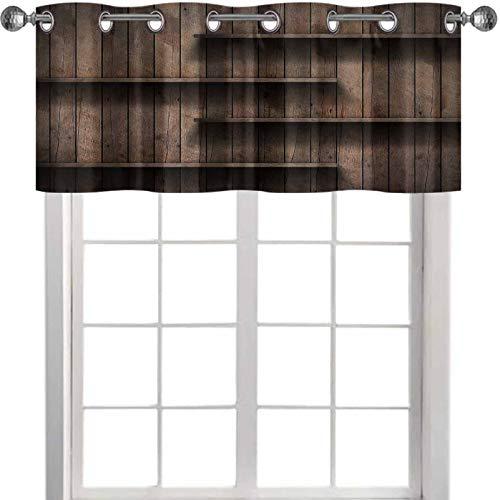"YUAZHOQI Cortina de filtrado de luz Cenefa de madera estante Grunge Industrial Interior desigual Iluminación Difusa Versión Diseño Componente 52"" x 45,7 cm Valencia de ventana para sala de estar"