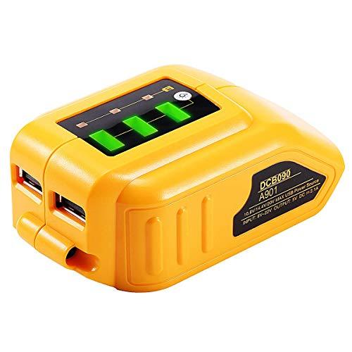 JANRI Replacement USB Power Source DCB090 Cordless Charger Portable Converter for DEWALT 14.4V 18V/20V Max Li-ion XR Slide Battery DCB184 DCB204 DCB205 DCB203 DCB200 DCB201 DCB120 DCB180