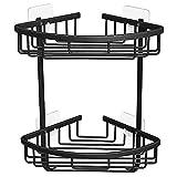 2 niveles de ducha estantes de baño ducha de baño caddy pared montado adhesivo baño estante espacio de aluminio organizador de cocina almacenamiento cesta bastidor estante de esquina ( Color : Black )