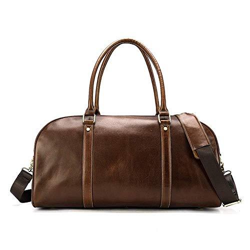 Sporten Fitness Bag - Leer short-handed schoudertas, Fashion Vintage Luggage Bag met grote capaciteit reistas, opslag, Wearable, 51 * 21 * 25cm Overnachting (Kleur: Zwart) Mooie en praktische sporttas