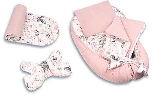 PIMKO 5tlg. Baby Kuschelnest-Set inkl. Babynest 55x90 Babydecke Kissen Baby- Matratze Schmeterrling-Kissen Nestchen für Babys 100% Baumwolle Super Weich Baby-Kokon (Rosa und blume)