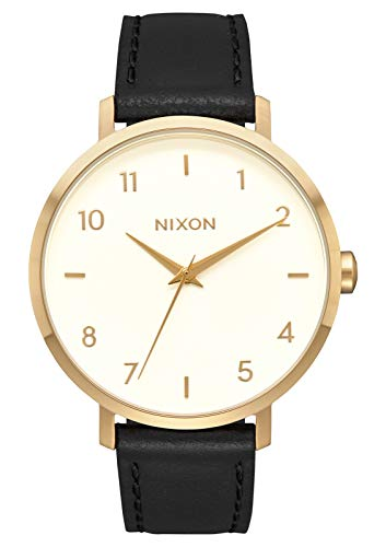 NIXON Arrow Leather A1091 - Gold/Cream/Black - 50m Water Resistant Women's Analog Classic Watch (38mm Watch Face, 17.5mm Leather Band)