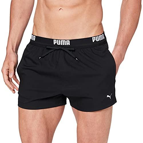 PUMA Herren Logo Men's Length Swimming Shorts Badehose, Schwarz, M