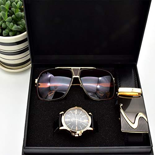 TCEPFS Hochwertige Herren Business geschenkset Sonnenbrille gürtel Junge Geburtstag überraschung quarzuhr geschenkbox neujahrsgeschenk inklusive Box
