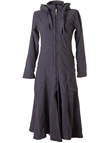 Vishes – Alternative Bekleidung – Langer, Warmer Fleece Mantel mit Zipfelkapuze grau 36