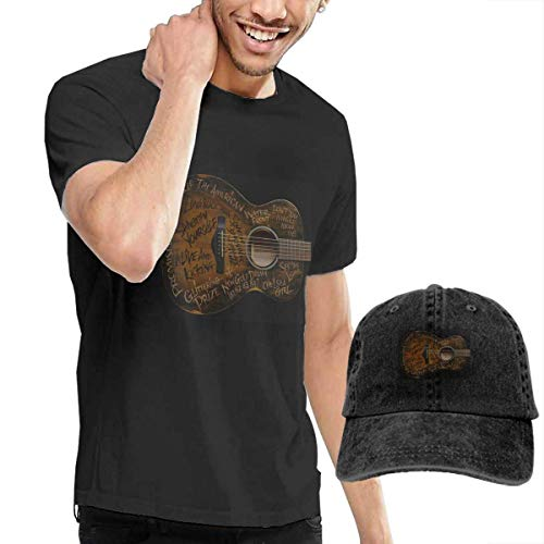 Simple Minds Guitar Graphic T-shirt with Washed Baseball Cap, S to 3XL
