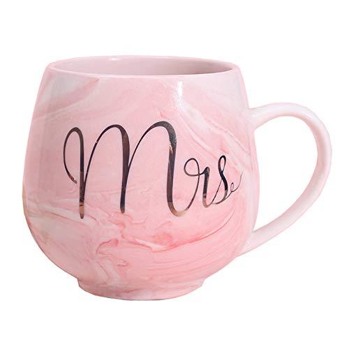 Marmor Keramik Tasse Kaffeebecher Briefe feine Geburtstagsgeschenke für Kaffee, Tee, Kakao, Dame (Pink)