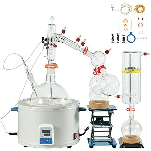 VEVOR 5L Short Path Distillation Kit 800W Distillation Kit Max.380? Lab Distillation Kit Laboratory Glassware Equipment for Chemistry Essential Oil Water Purifier Set