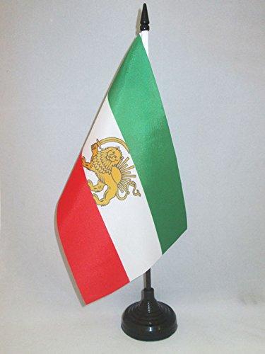 AZ FLAG TISCHFLAGGE Iran ALT EHEMALIGE PERSIEN 21x14cm - IRANISCHE TISCHFAHNE 14 x 21 cm - flaggen