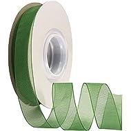 Duoqu 5/8 inch Wide Shimmer Sheer Organza Ribbon 50 Yards Classical Green