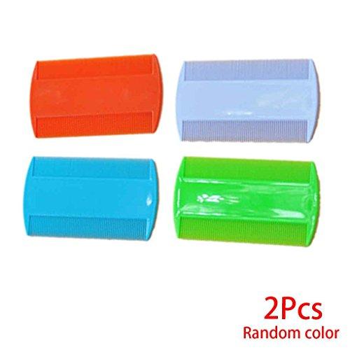 kongnijiwa 2 Piezas de plástico de Color Puro al Diente Piojos antipulgas para Mascotas peines de Doble Cara Nit niños