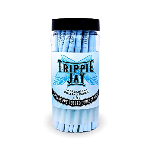 Trippie Jay Blue Pre Rolled Cones | 50 Pack | Vegan & Non GMO | Slow Burning 98mm Special Cones