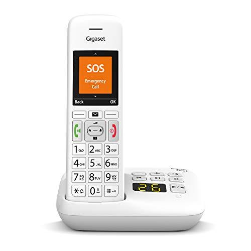 Gigaset E390 A Telefono Cordless con segreteria, Numeri Grandi, Suonerie Forti, Esclusione Suoneria Fasce Orarie, Bianco [Versione Italiana]