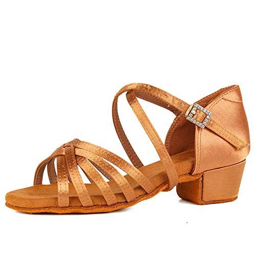 Zapatos de baile Zapatos de baile latino para niñas Zapatos de baile de satén de seda de tacón bajo Zapatos de baile de salsa de práctica de rendimiento, SS-TL-ZSXGG / 202 (Color: 1 18 pulgadas Marrón