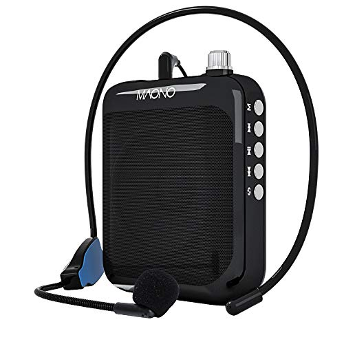 Portable Voice Amplifier MAONO AU-C01 Lightweight Cardioid Rechargeable Wired Microphone with Waistband and LED Display, Support FM/MP3/TF Card for Teachers, Tour Guides, Coaches, Training