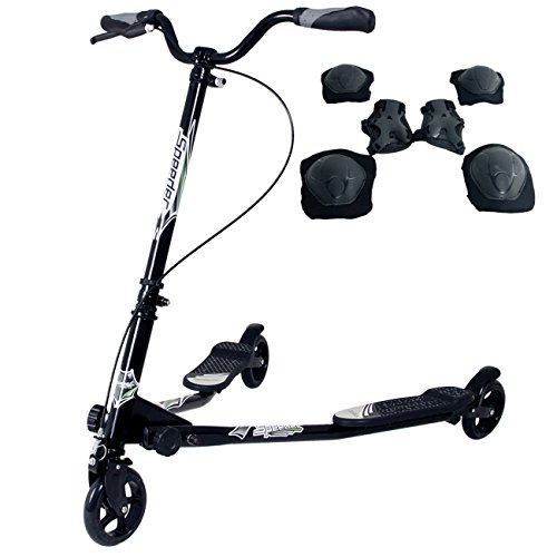 Yorbay Scooter patinete de tres rueda plegable ajustable para niños (negro)