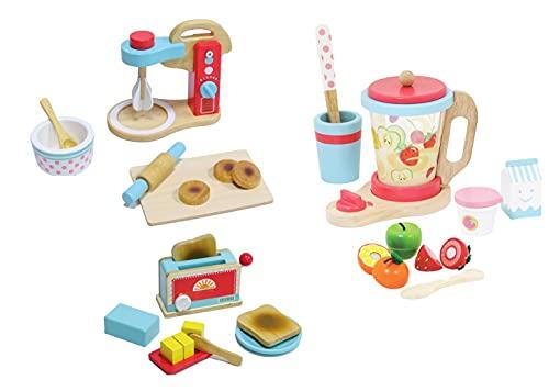 Mega Küchengeräte Set aus Holz für Spielküche Toaster, Küchenmaschine, Mixer