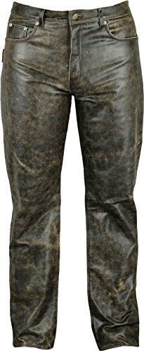 Fuente Vintage Röhren Lederhose lang Herren Damen eng- Lederjeans - Echt Leder Rind, Lederhose Jeans 501- Motorrad Lederhose Lederjeans (50 EU, Schwarz Vintage)