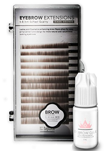 Eyebrow Extensions with Eyebrow Extension Glue Clear with Mink Eyebrows In Browns and Black | Comes on Mixed Length Trays 5-8 mm mix by KC Republic (Dark Brown)
