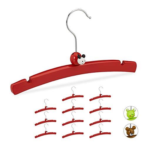 Relaxdays Perchas Infantiles, Set de 12 Unidades., para Ropa de Niños y Bebés, Diseño Alegre de Mariquita, Madera, Rojo