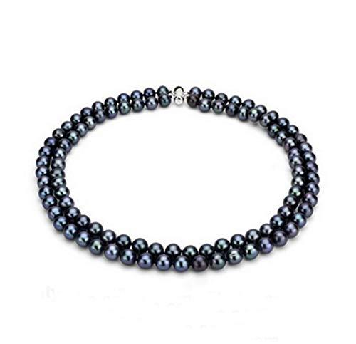 TreasureBay Collar de perlas naturales de agua dulce de 7 mm, hecho a mano, de dos filas, para mujer (negro)