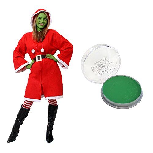 Set costume da donna con Babbo Natale e vernice verde per il viso