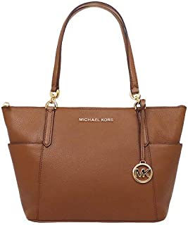 Michael Kors Women's Jet Set Item Large East West Top Zip Luggage Tote Bag, Leather (35F9GBFT9L) - Brown