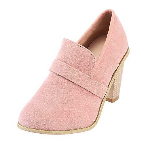 ZODOF Botas de Mujer Zapatos de tacón Alto de Ante con Punta Redonda para Mujer Botas de Color Puro Zapatos sin Cordones