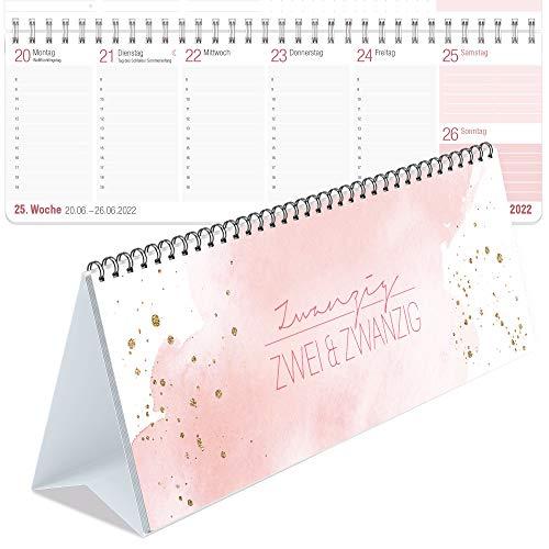 Wochen-Tischkalender 2022 im Quer-Format zum Aufstellen [Blush] 1 Woche 2 Seiten | Wochenkalender, 29,7 x 10,5 cm | Schreibtisch-Kalender mit Sprüchen | nachhaltig & klimaneutral