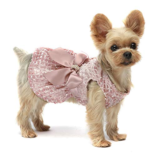 Fitwarm Valentines Day Embroidery Dog Dresses Pet Clothes Prom Dress Cat Party Gown Pink Medium