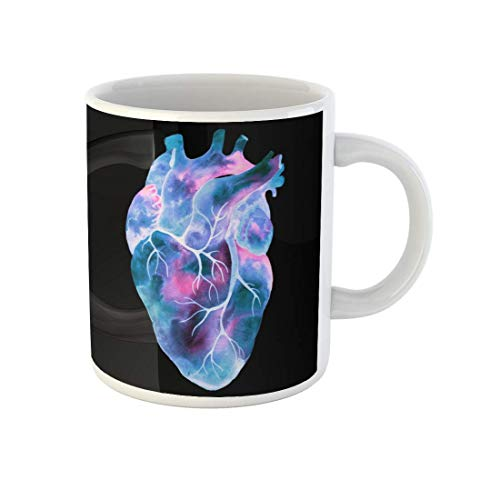 N\A aza de café Anatomía Azul Corazón Humano Inusual Trama de Acuarela Biología artística Taza de té de cerámica Tazas Recuerdo para Familiares Amigos Compañeros de Trabajo