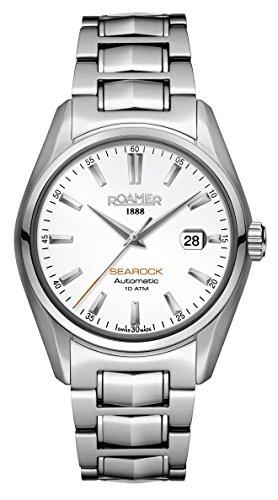 Reloj automático Roamer para Hombre, con dial analógico Blanco y Pulsera de Acero Inoxidable Plateada, 210633 41 25 20