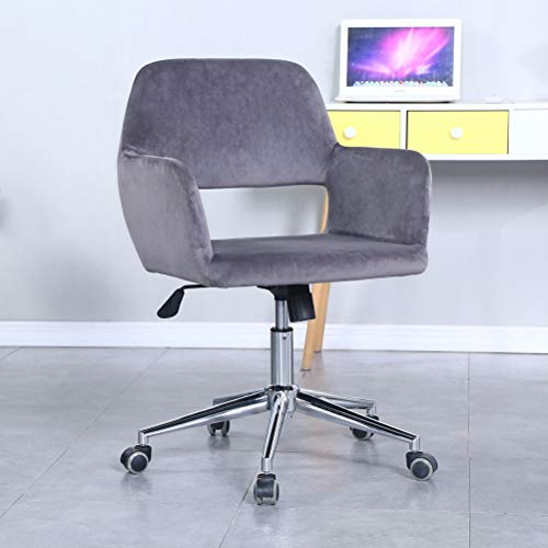 Modern Home Office Desk Chairs 360°Swivel,Comfort Velvet Upholstery Accent Chair for Desk on Rolling Wheels, Adjustable Swivel Ergonomic Computer Chair with Arms for Home Office(Grey)